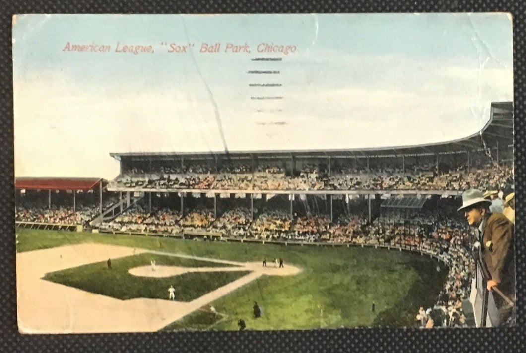 1911 American League Ball Park Postcard Chicago White Sox Comiskey Park MLB