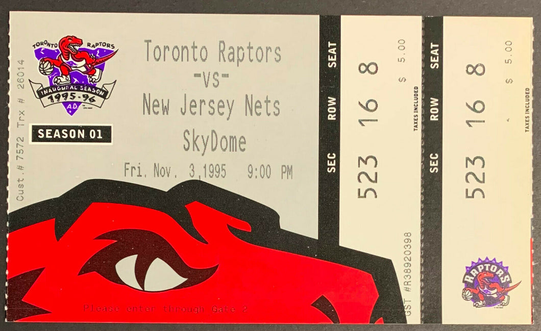 1995 Toronto Raptors Inaugural Opening Night Ticket 1st Game Franchise History
