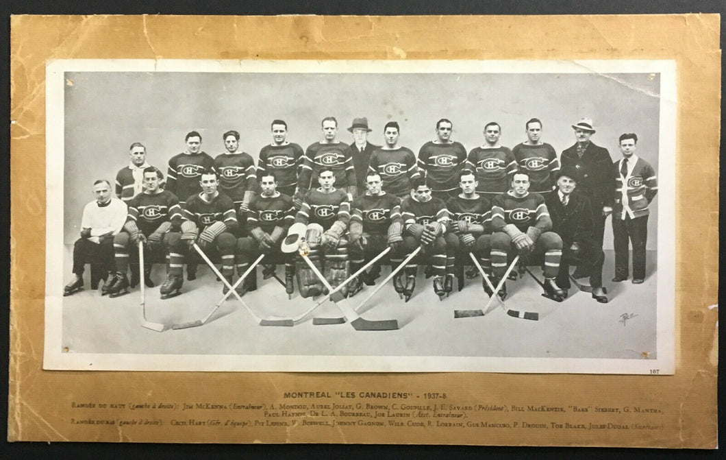 1937 CROWN BRAND Montreal Canadiens Hockey Team Photo Card Vintage Old Card NHL