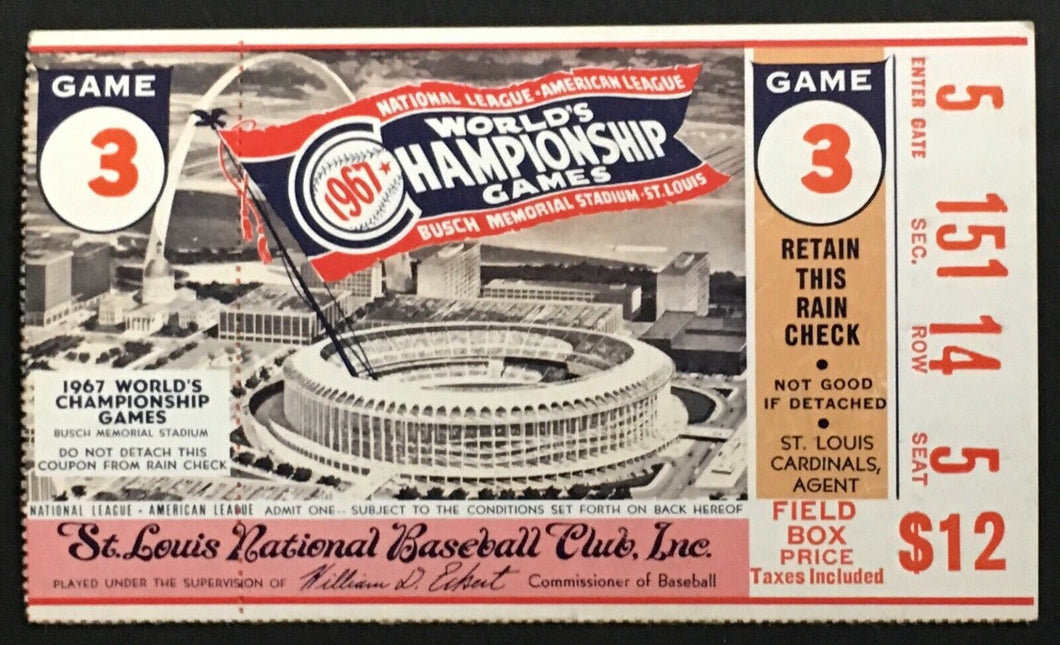 1967 World Series Ticket Game 3 Busch Stadium Boston Red Sox St. Louis Cardinals