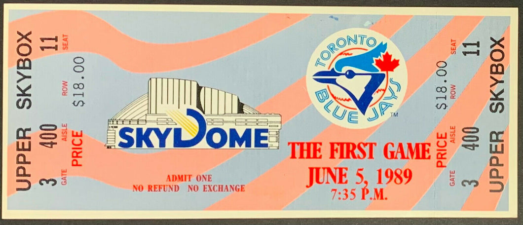 1989 Toronto Blue Jays Full Ticket First Game At SkyDome Baseball Vintage MLB