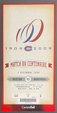 Load image into Gallery viewer, 2009 Bell Centre NHL Match Of The Century Ticket + Envelope Montreal vs Boston