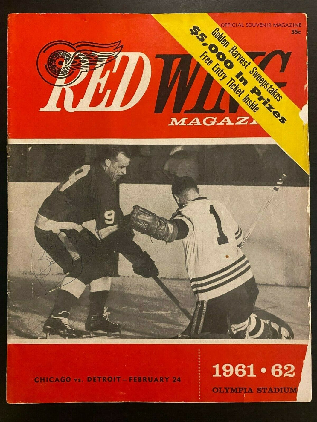 1962 NHL Signed Hockey Program Detroit Red Wings Autographed Lindsay Mikita + 5