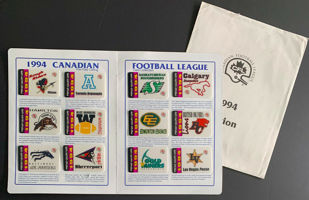 1994 CFL Football League Calling Card Collection 12 Teams + Envelope Vintage