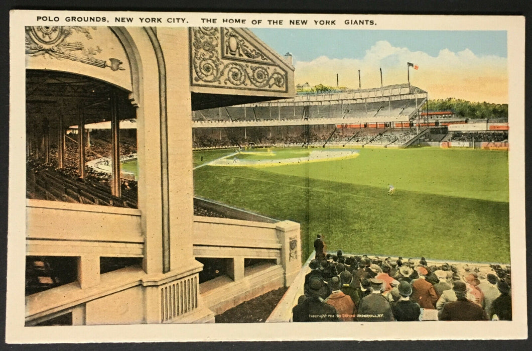 1900s MLB Baseball Polo Grounds Stadium Postcard New York Giants Post Card Rare