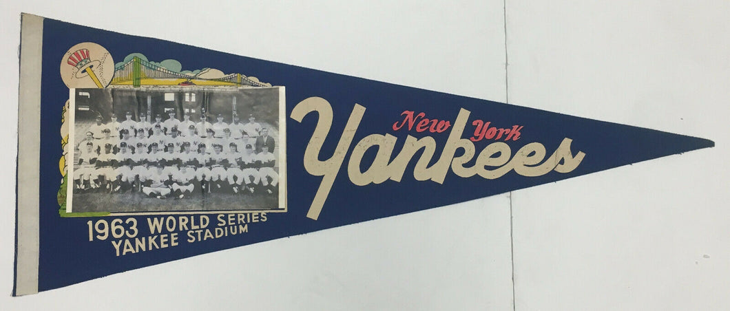 1963 World Series New York Yankees Team Photo Pennant Mickey Mantle Berra