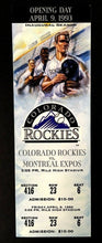 Load image into Gallery viewer, 1993 Inaugural Season Opening Game Colorado Rockies vs Montreal Expos MLB Ticket