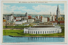 Load image into Gallery viewer, Vintage Cleveland Stadium & Skyline Postcard - Home Of MLB Cleveland Indians