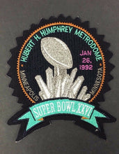 Load image into Gallery viewer, Super Bowl XXVI Patch Football Hubert H. Humphrey Metrodome 1992 Minnesota VTG