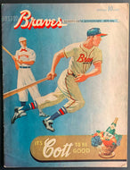1951 Boston Braves Baseball Program Vs Giants Shutout 3-0 Willie Mays In Lineup