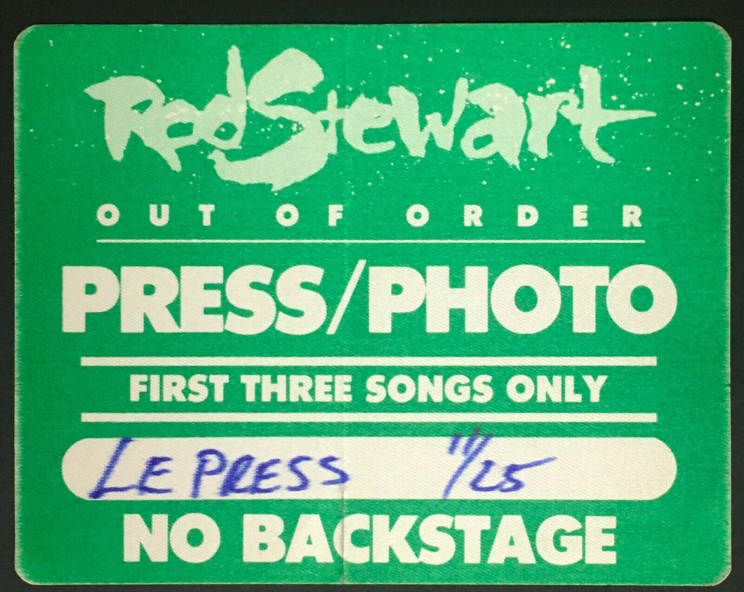 1988 Rod Stewart Press Pass Concert Decal Out Of Order Album Tour Vintage
