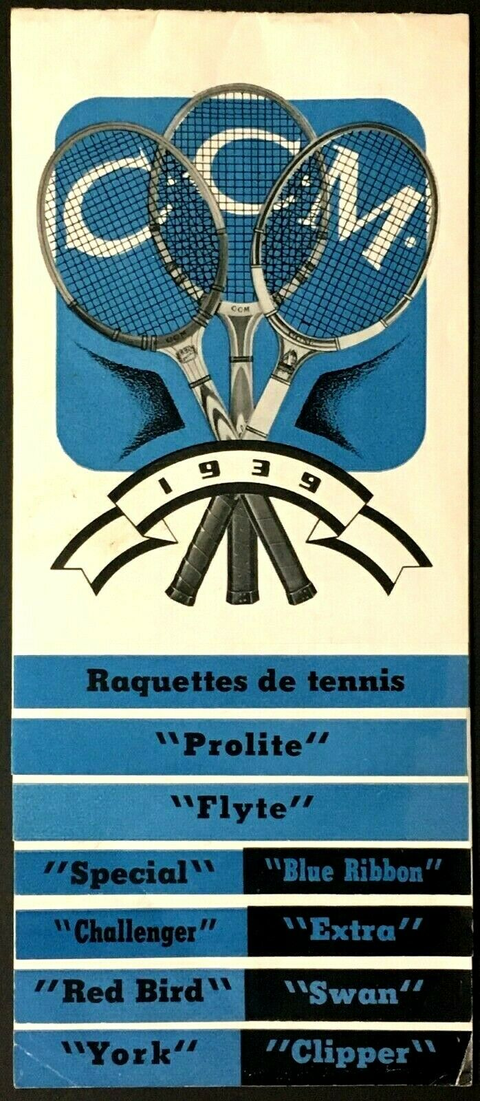 1939 CCM Tennis Racket Brochure Catologue Rare French Version Vintage