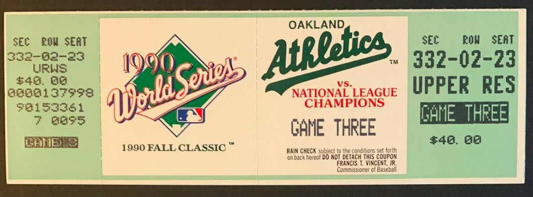 1990 World Series Full Ticket Game 3 Cincinnati Reds Oakland Athletics Alameda