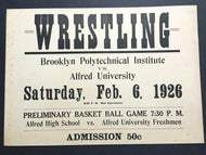 VTG 1926 Brooklyn New York Varsity Wrestling Basketball Poster Alfred University