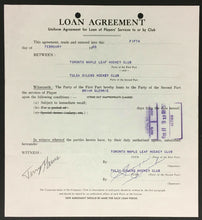 Load image into Gallery viewer, 1969 NHL Hockey Loan Agreement Toronto Maple Leafs & Tulsa Oilers Signed Imlach