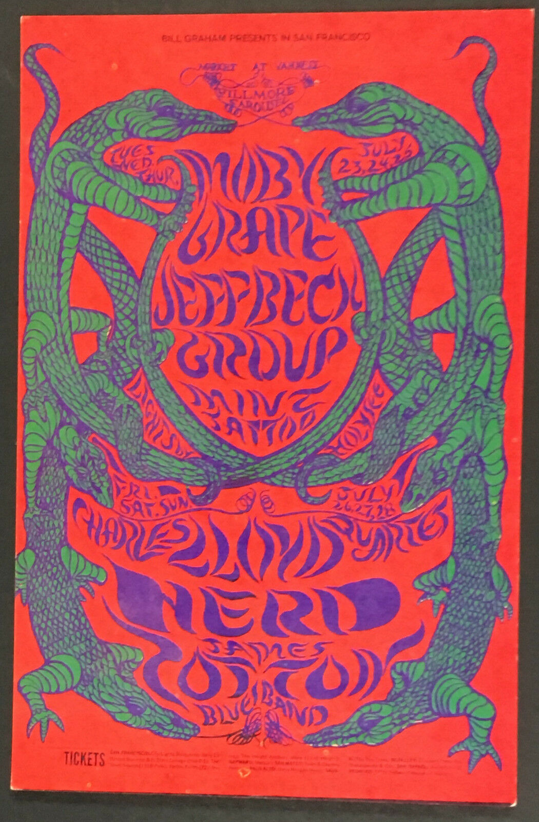 1968 Bill Graham Presents Moby Grape Jeff Back Playbill @ The Filmore Post Card