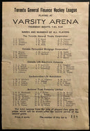 1933 Toronto Senior Hockey League Program Vintage Varsity Arena + News Clippings