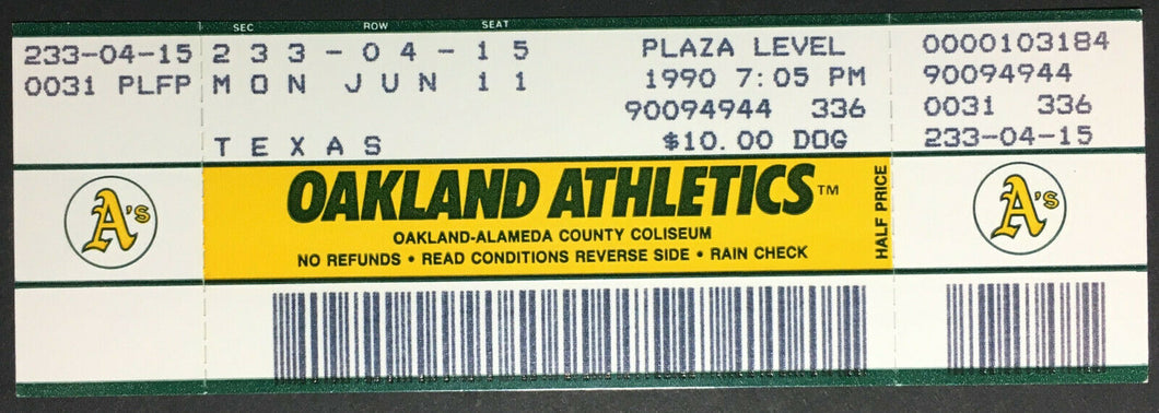 1990 Nolan Ryan 6th No Hitter Unused Game Ticket Oakland A's Texas Rangers MLB
