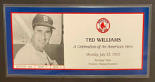 Load image into Gallery viewer, 2002 MLB Boston Red Sox Baseball Ted Williams Celebration Promo Ticket Fenway