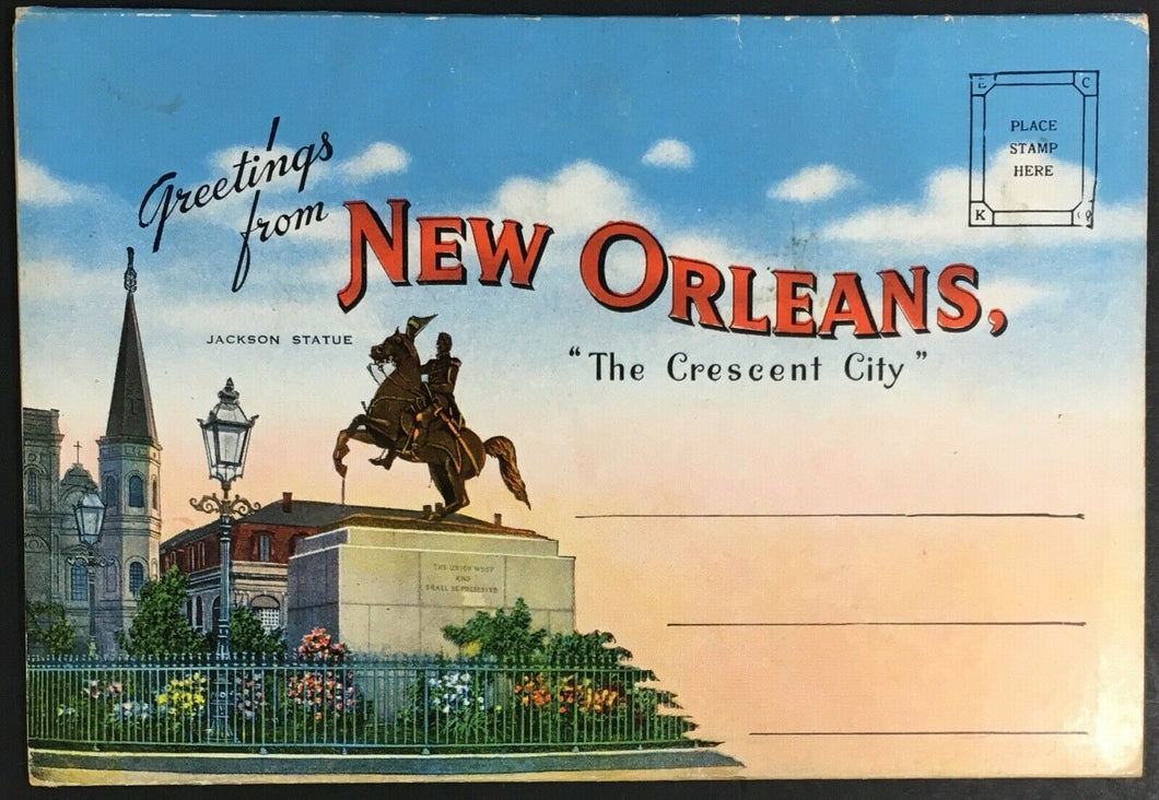1940s New Orleans Postcard Foldout 20 Different Cards City Park Stadiums ++