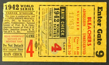 Load image into Gallery viewer, 1942 World Series Game 4 Ticket Yankees Stadium New York v St. Louis Cardinals