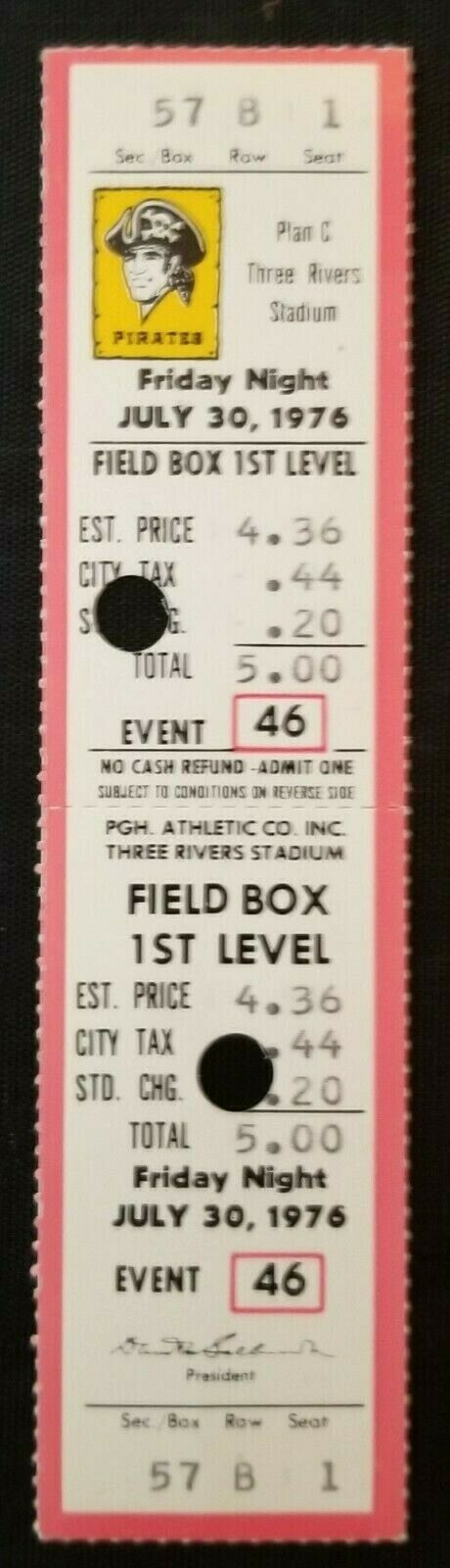 1976 MLB Baseball Three Rivers Stadium Full Ticket Pirates Expos Vintage
