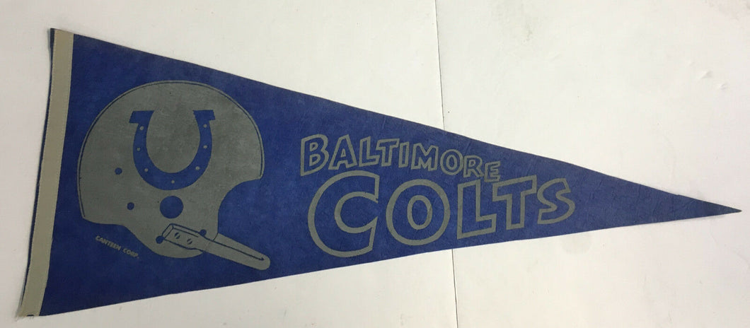 1960's Baltimore Colts NFL Football Pennant Canteen Corp Vintage Sports Logo