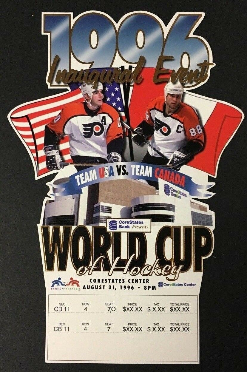 1996 World Cup Hockey Ticket First Game USA Vs Canada CoreStates Center