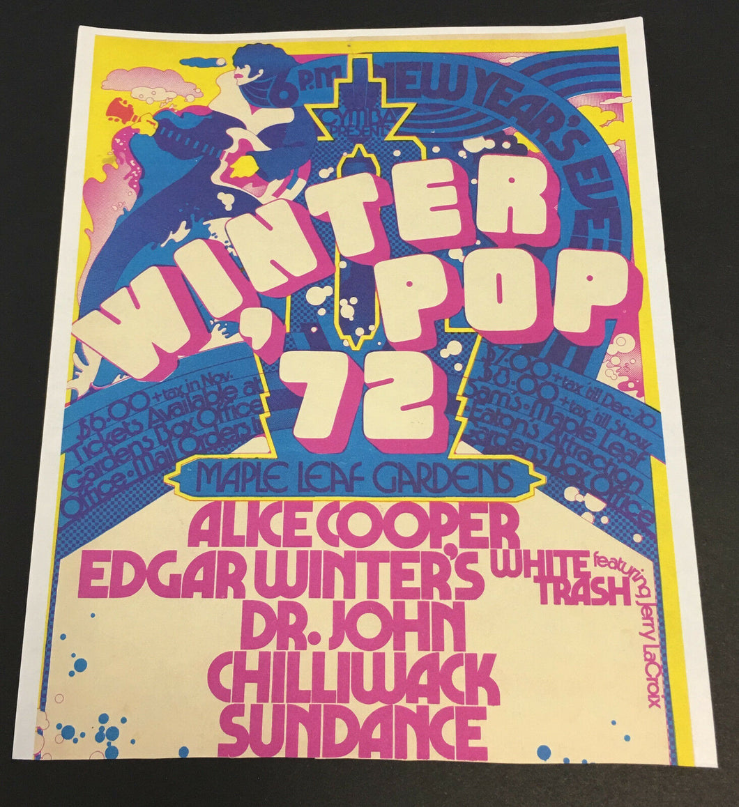 1972 Winter Pop Rock Concert Promo Toronto Maple Leaf Gardens Alice Cooper