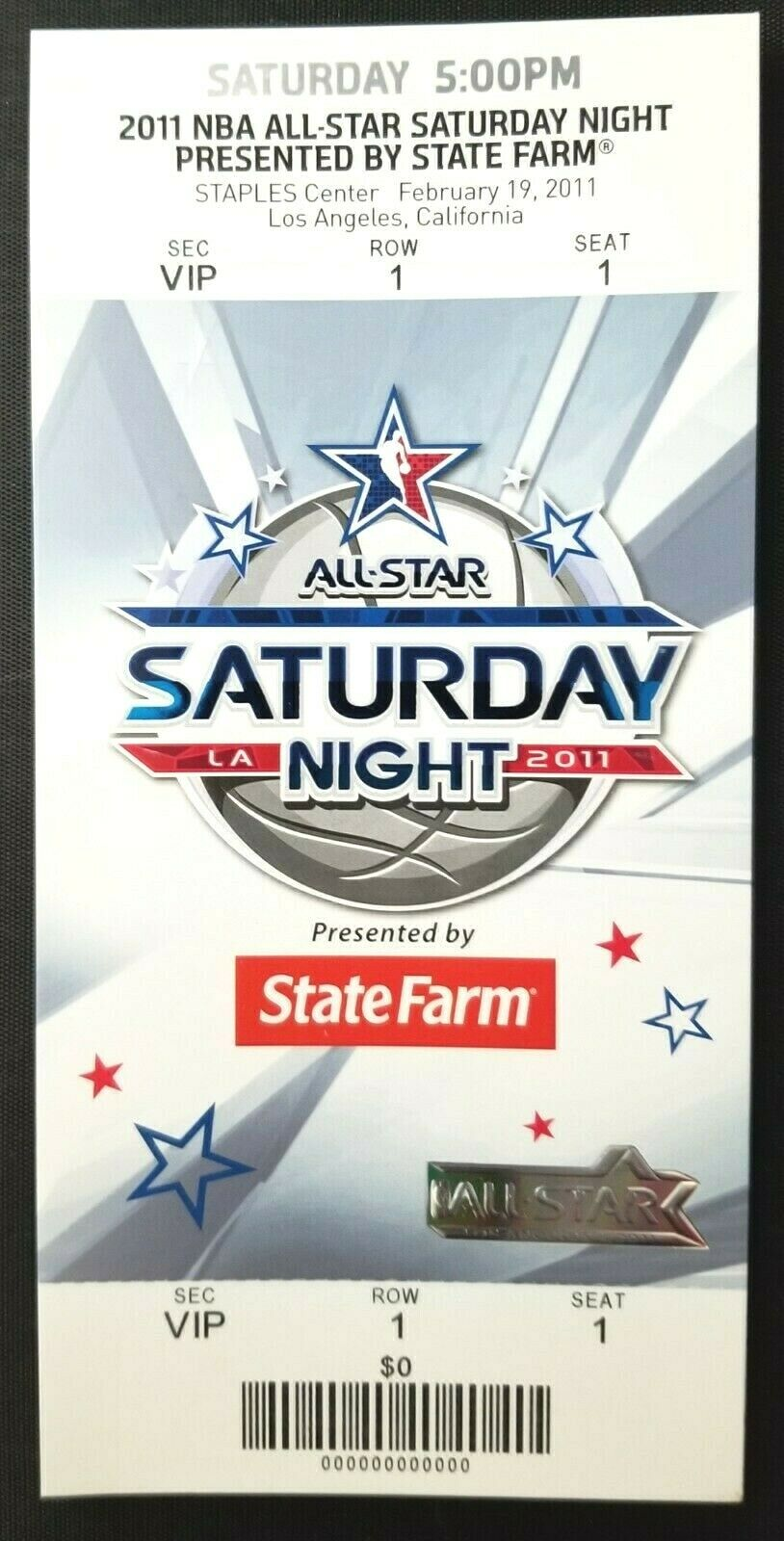 2011 NBA All Star Basketball Saturday Night Full Promo Ticket Staples Center