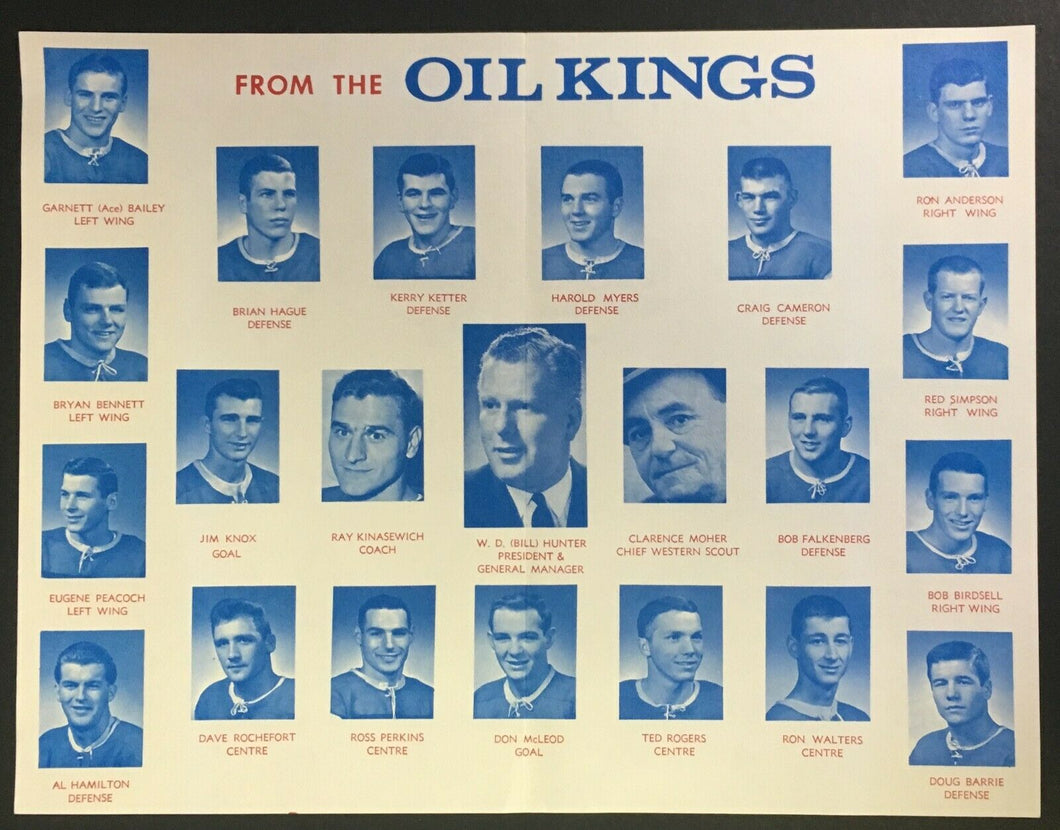 1966-67 Edmonton Oil Kings Christmas Card Hockey Team Photo Facsimile Auto WHL