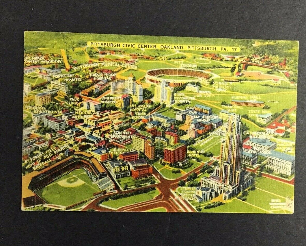 1940 Pittsburgh Stadiums Picture Postcard Civic Center Imperial Greeting Card