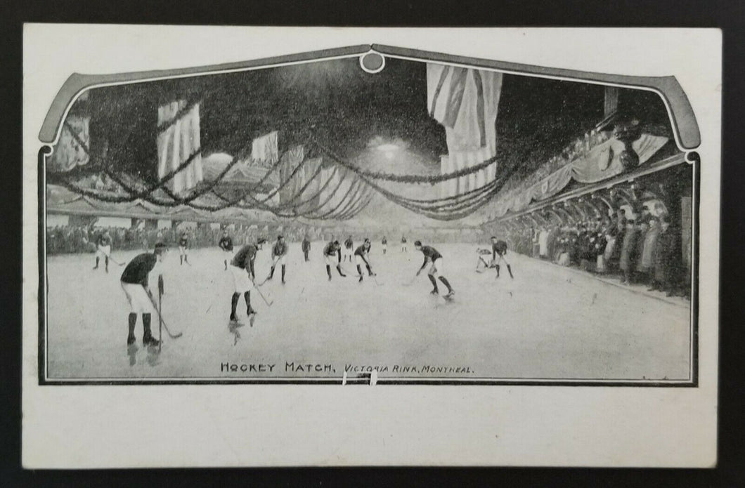 Circa 1800's Postcard 1st Stanley Cup Montreal Victoria Rink Famous Quebec Rink