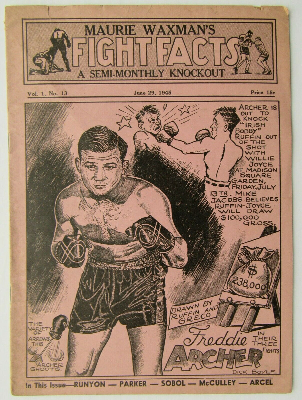1945 Maurie Waxman's Fight Facts A Semi-Monthly Knockout Magazine Freddie Archer