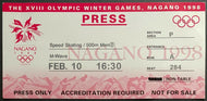 1998 Winter Olympics Men's Speed Skating Ticket Gold Medal Event Nagano Japan