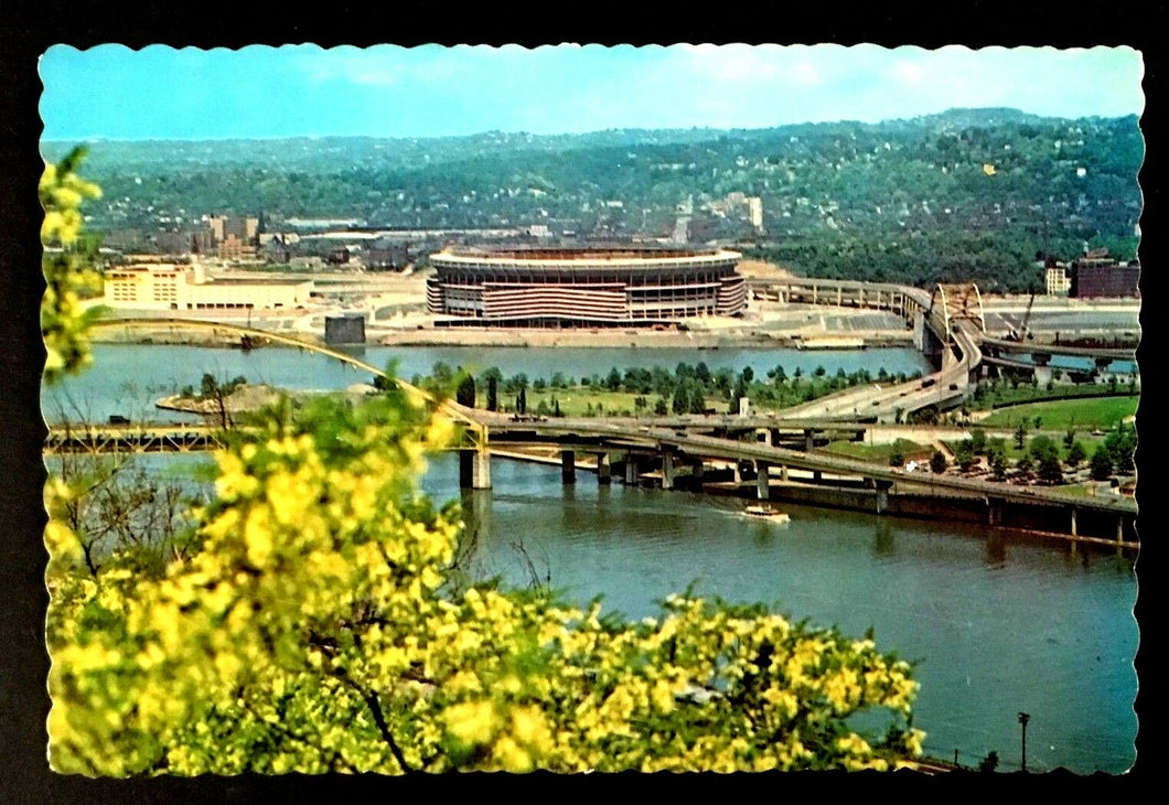1970 Three Rivers Stadium Pittsburgh Pennsylvania Football Vintage Postcard