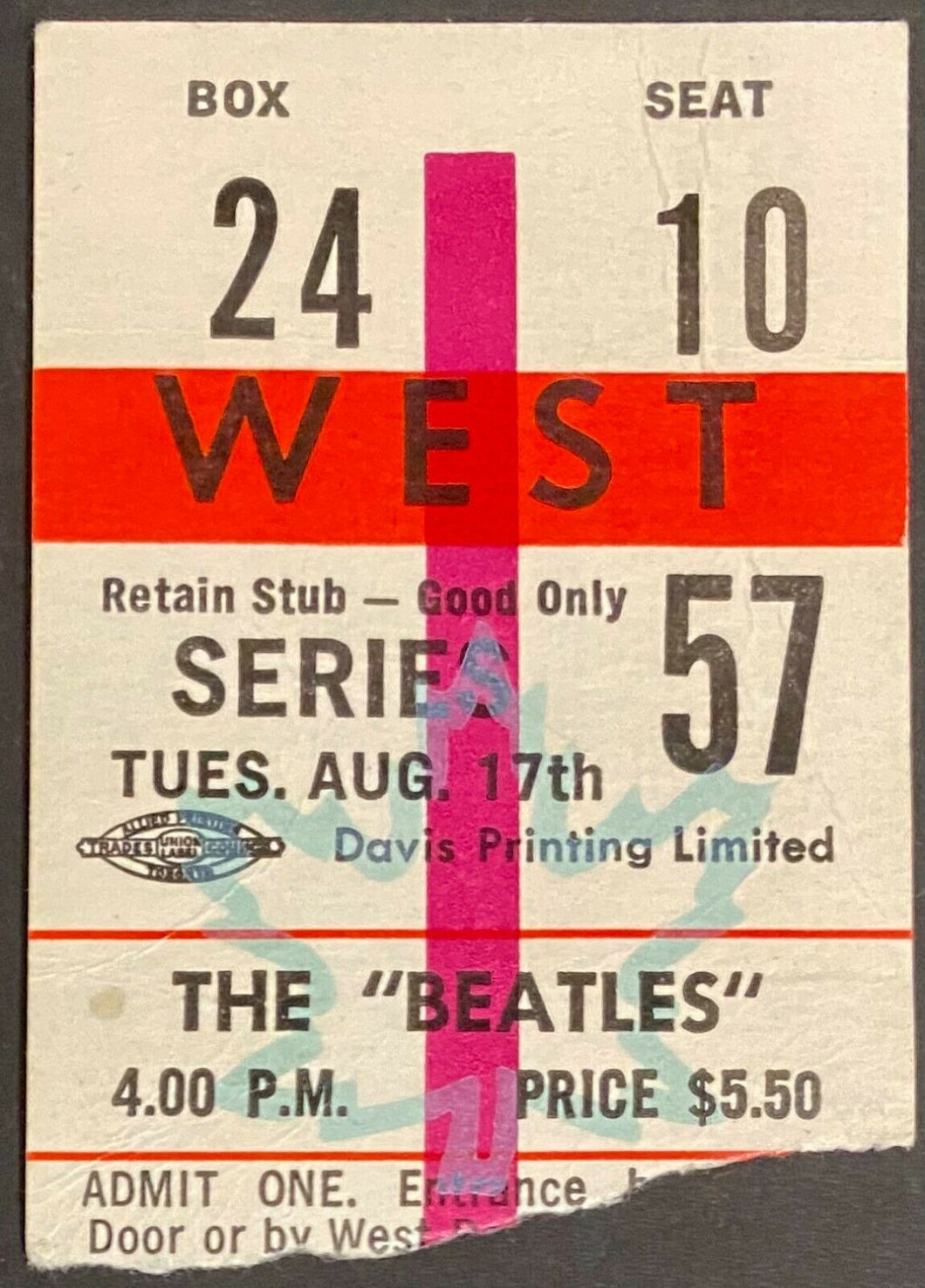 Aug 17 1965 Beatles Concert Ticket Stub Maple Leaf Gardens CHUM Chart Contest