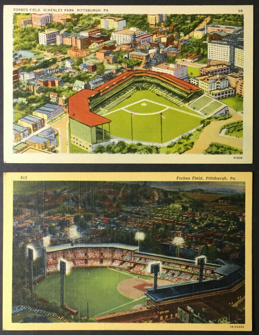 1940 Forbes Field Postcards 2 Variations Day + Night View Baseball Pittsburgh PA