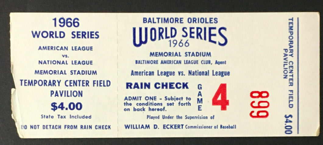 1966 World Series Game 4 Ticket Baltimore Orioles LA Dodgers McNally Shutout