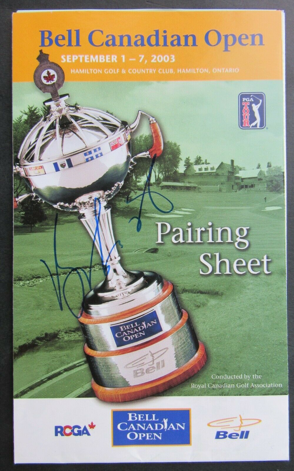 2003 Canadian Open Golf Tournament Final Day Pairing Sheet Signed By Vijay Singh