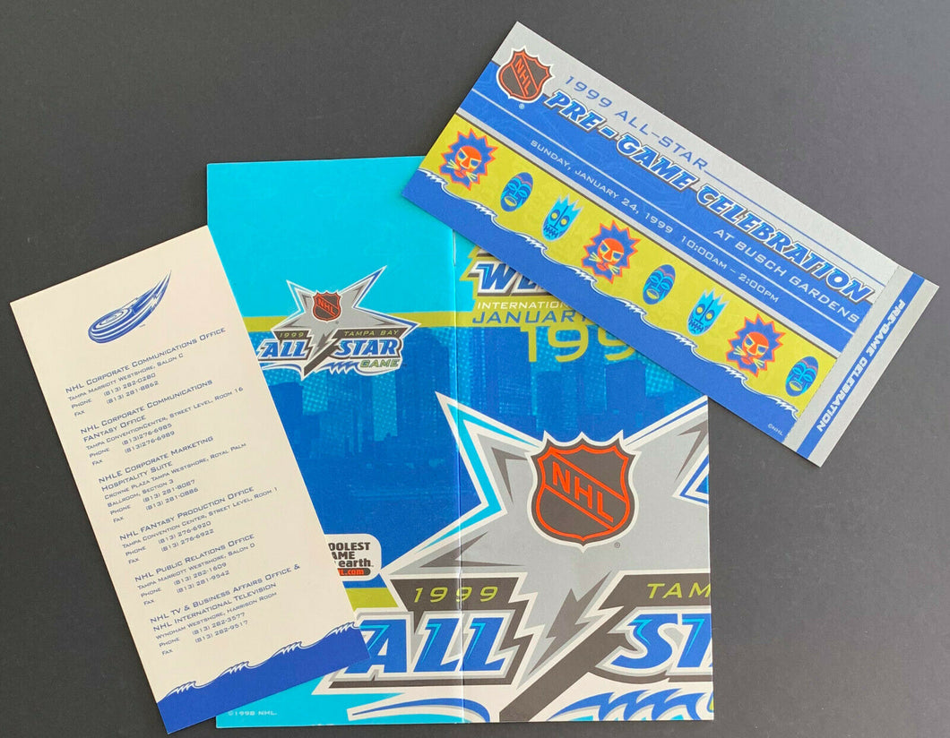 1999 NHL All Star Game Media VIP Program Pre-Game Ticket + Card Gretzkys Last