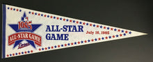 Load image into Gallery viewer, Vintage 1985 MLB All Star Game Pennant Minnesota Twins Hubert Humphrey Metrodome