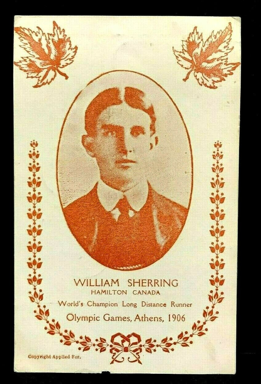 1906 Olympics William Sherring Postcard Hamilton Canada Gold Medal Winner Athens