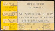 1983 Robert Plant In Concert Maple Leaf Gardens Ticket Stub Vintage Zeppelin