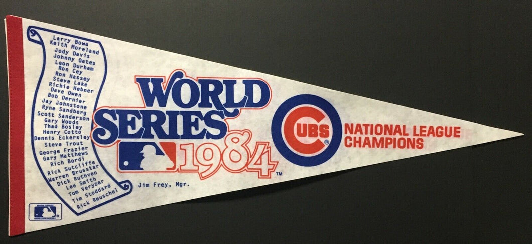 1984 Chicago Cubs World Series NL Champions Scroll Pennant MLB Team Roster