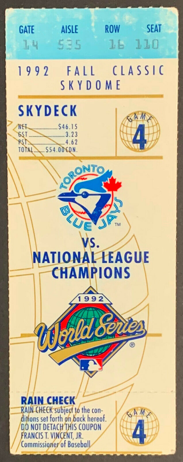 1992 SkyDome World Series Game 4 Ticket Atlanta Braves vs Toronto Blue Jays