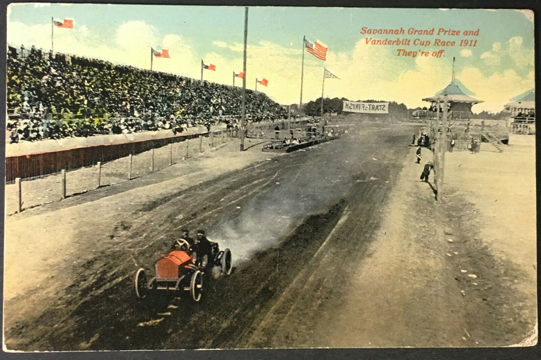 1911 Vanderbilt Cup Race Savannah Georgia Post Card Ralph Mulford Car Auto Old
