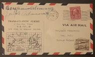 1934 Air Mail Cover Autographed Signed Pilots Adamowicz Brothers NYC To Poland