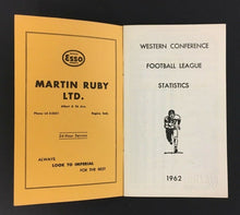 Load image into Gallery viewer, 1962 CFL Football League Western Conference Statistics & Guide Eskimos Lions
