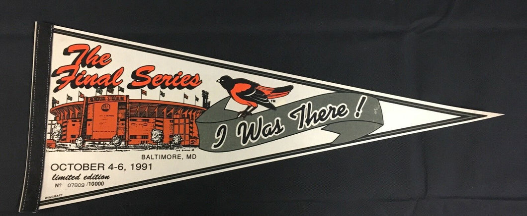 1991 Baltimore Orioles MLB Pennant The Final Series Memorial Stadium Full Size